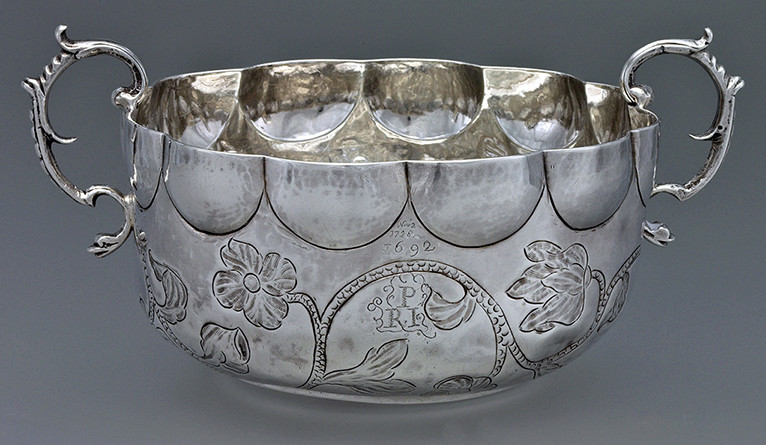 two-handle silver bowl made by Boston silversmith Jeremiah Dummer