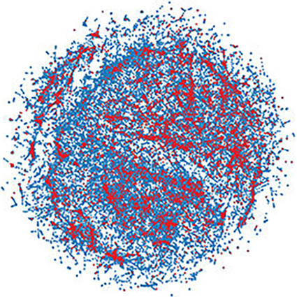 A graphic representation of gunshot statistics from the Chicago police, arranged as a cluster of red and blue dots