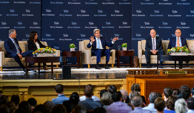Kerry leads a Yale Climate Conference panel on city and international efforts in 2017.