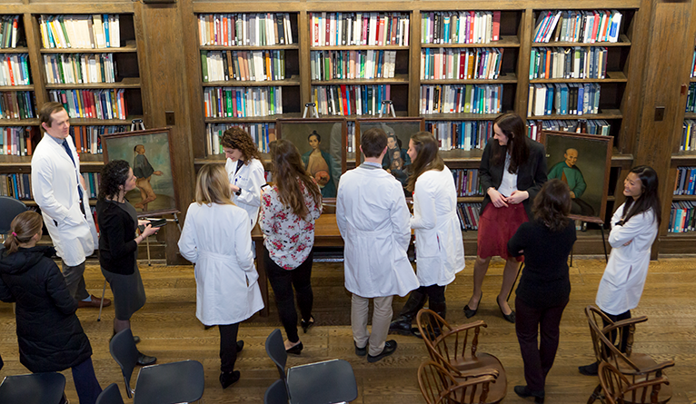 Dermatology residents examined 19th-century portraits by Lam Qua depicting patients of Dr. Peter Parker.