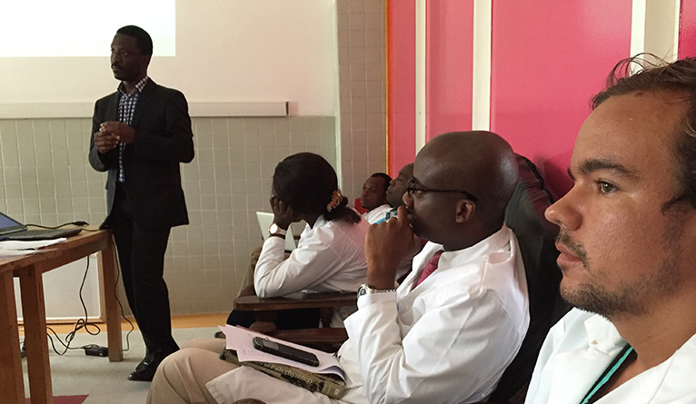 Dr. Ogbuagu leading a journal club session for residents and faculty of in the Internal Medicine training program.