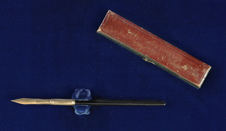 The gold pen used by Lincoln to sign the Emancipation Proclamation