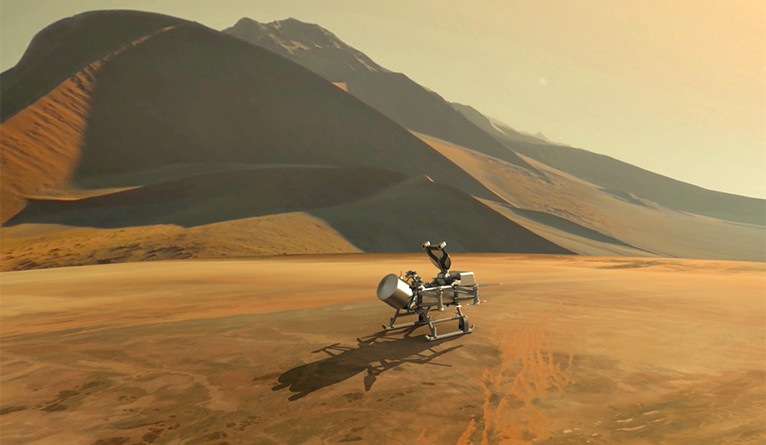 Artist's impression of Dragonfly spacecraft on Titan's surface.