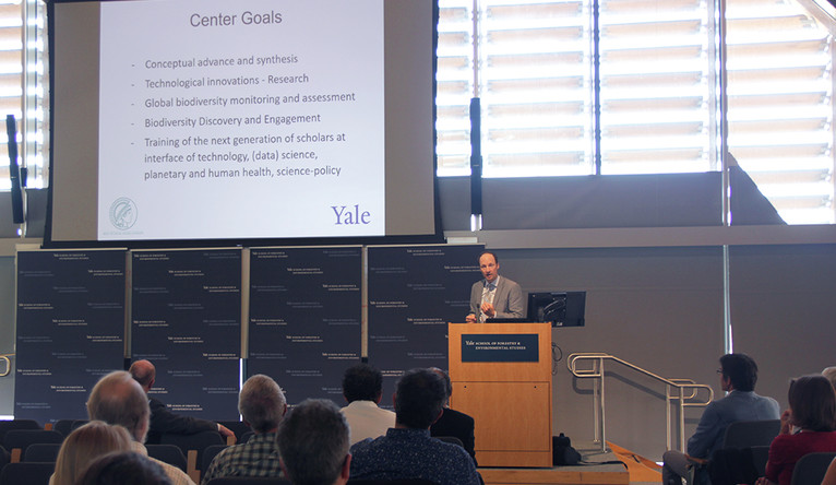 Yale's Walter Jetz presenting at the Max Planck-Yale Center launch event.
