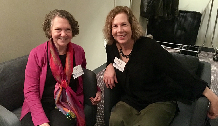 Laurie Treuhaft '73 B.A. (right) with Carol Fisler at a Yale Alumni College reception in New York City.