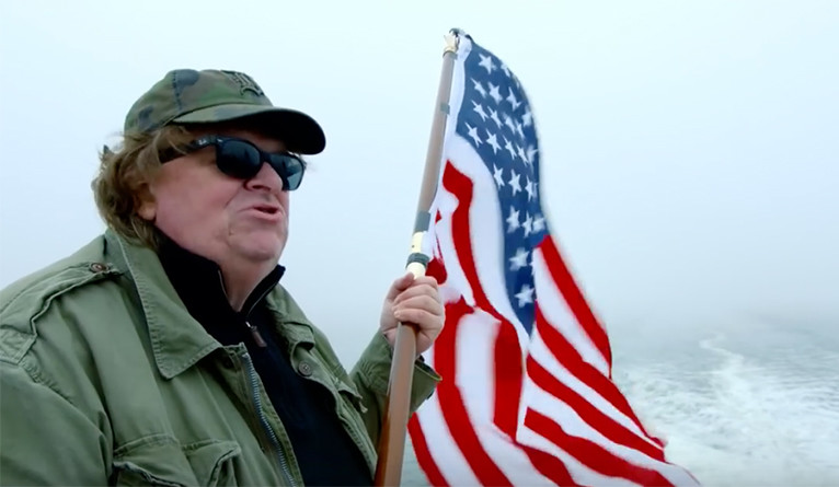 "Michael Moore, in a scene from his 2015 film ""Where to Invade Next."""