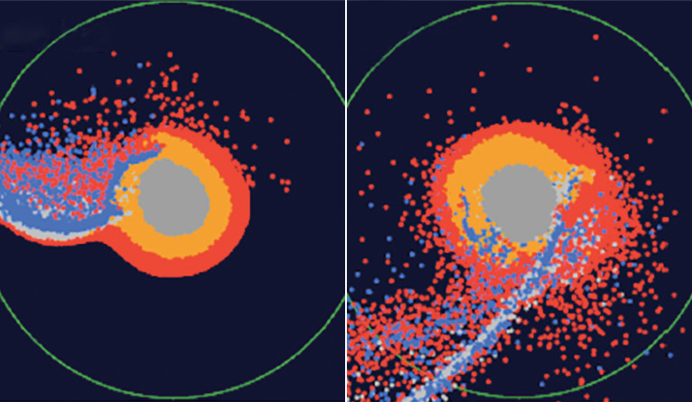 Snapshots of numerical modeling of the moon's formation by a giant impact.