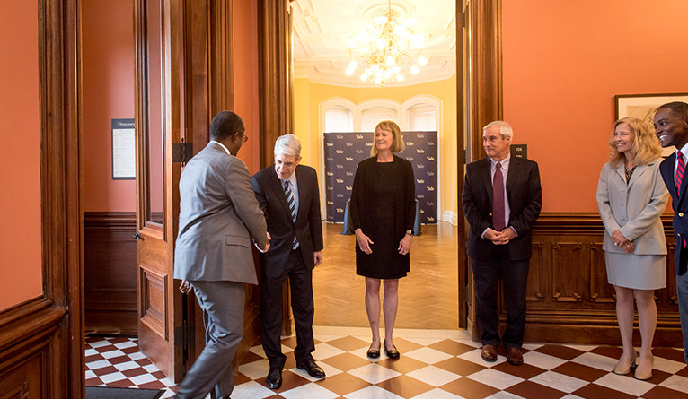 President Salovey and a Yale delegation welcomes Rwandan Minister of Environment Vincent Biruta to Yale.