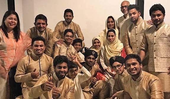 Sri Lanka's Muslim Choral Ensemble posing for a group photo.