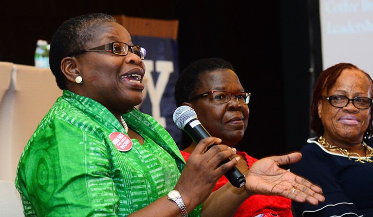 Obiageli Ezekwesili giving remarks at the Yale Leadership Forum in Accra, Ghana.