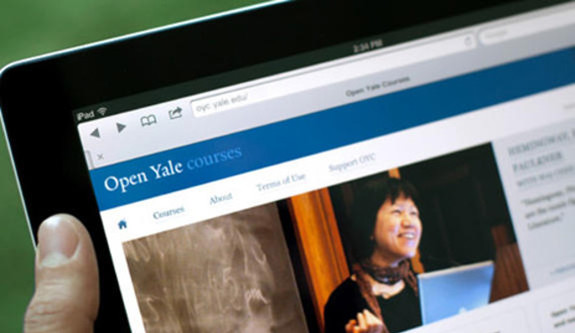 A device screen displaying an Open Yale Course web page.