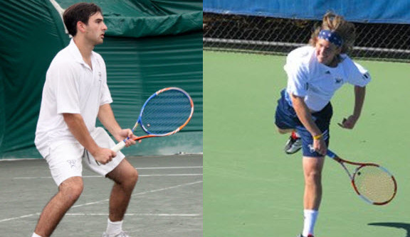A composite image of two men playing tennis