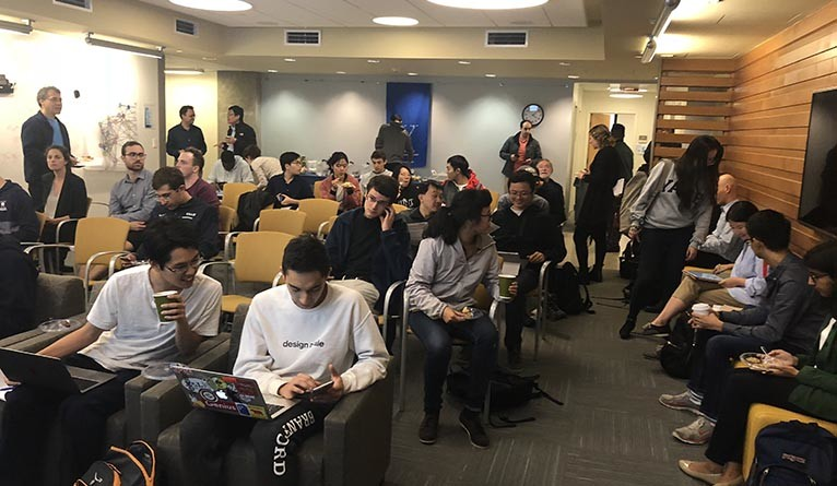 Students gatehred for Project Pitch, an event organized by Yale's Department of Statistics and Data Science