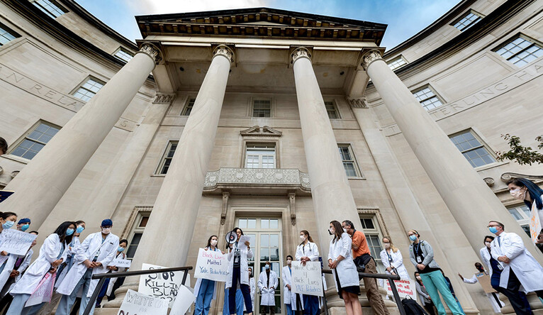 """White Coats for Black Lives"" rally on the steps of Sterling Hall of Medicine on June 5"