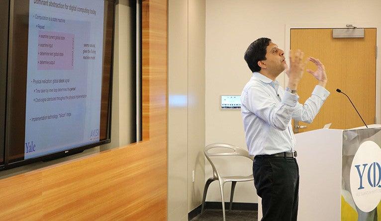 Smita Krishnaswamy presenting at the Yale Science and Engineering Forum.