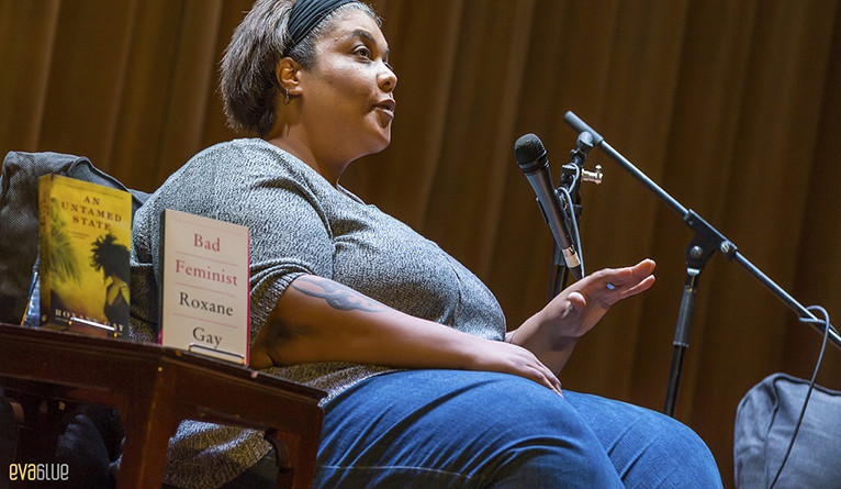 Roxane Gay on stage in Montreal in 2015, by Eva Blue