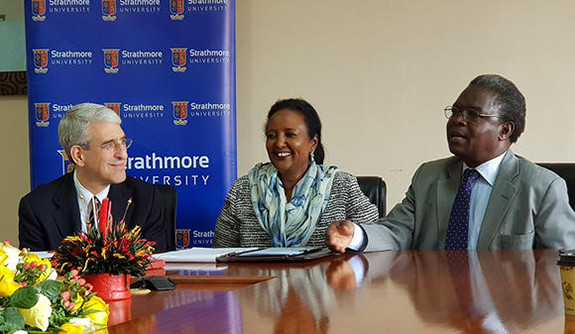 Peter Salovey, Amina Mohamed, and John Odhiambo at Strathmore University.