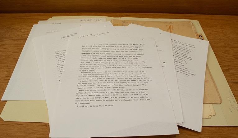 "An early typwritten draft of ""The Santaland Diaries"" by David Sedaris."