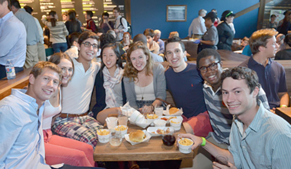 Yale students enjoy a meal at New Haven's newest eatery, Shake Shack, in its opening week.