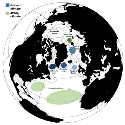 Schematic illustrating the major source regions for the AMOC in present and projected future climates.