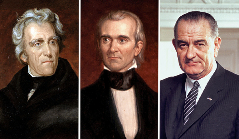 Portraits of Presidents Andrew Jackson, James K. Polk, and Lyndon B. Johnson.