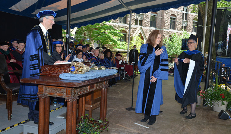 Gloria Steinem receives an honorary Doctor of Human Letters degree from Yale President Peter Salovey