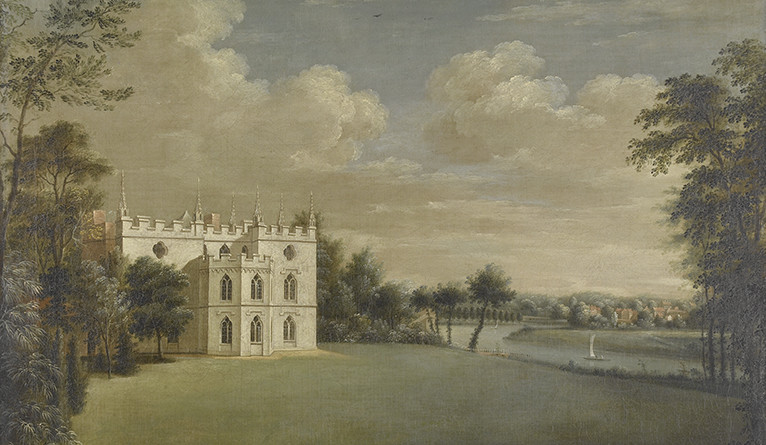 Painting of Walpole's home, Strawberry Hill.