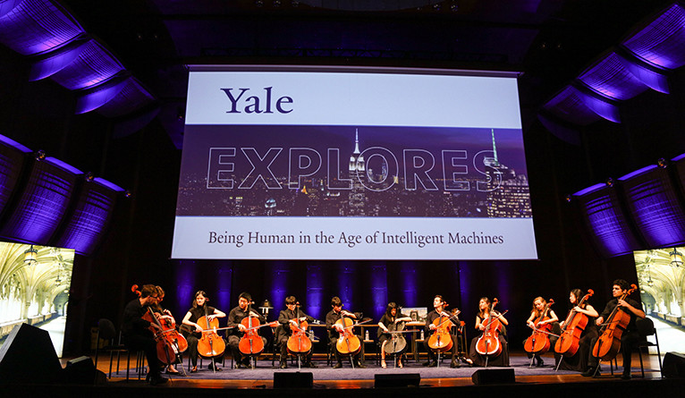 Low Strung, Yale's all-cello rock ensemble, on stage at Yale Explores in NYC.