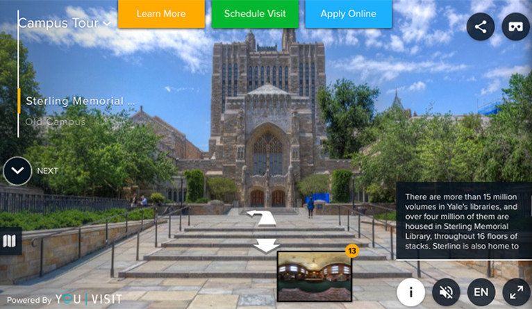 An image from the video showing a photo of Sterling Library, an information text box, and arrows to other sites.
