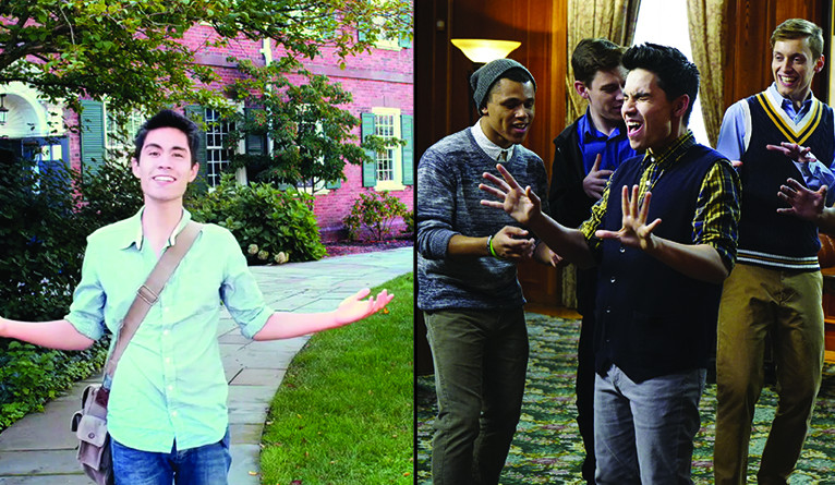 Dual image, one showing Sam Tsui in the original video, and one showing him today.