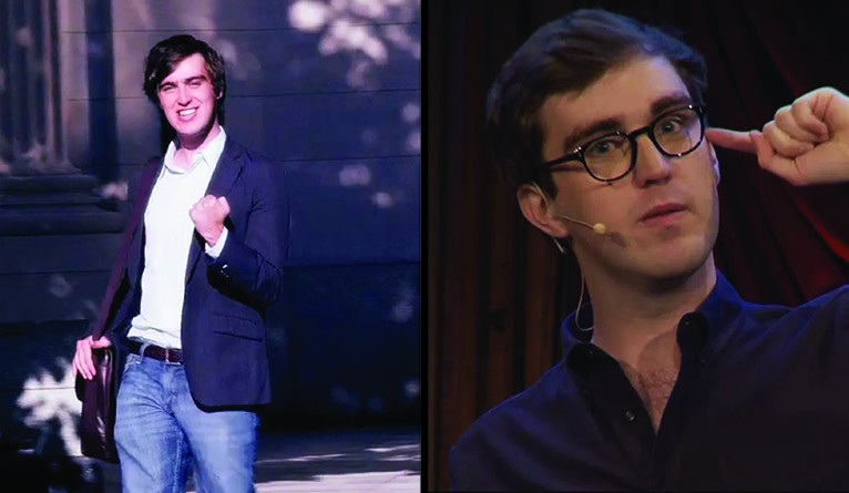Dual image, one showing Will Stephen in the original video, and one showing him today.