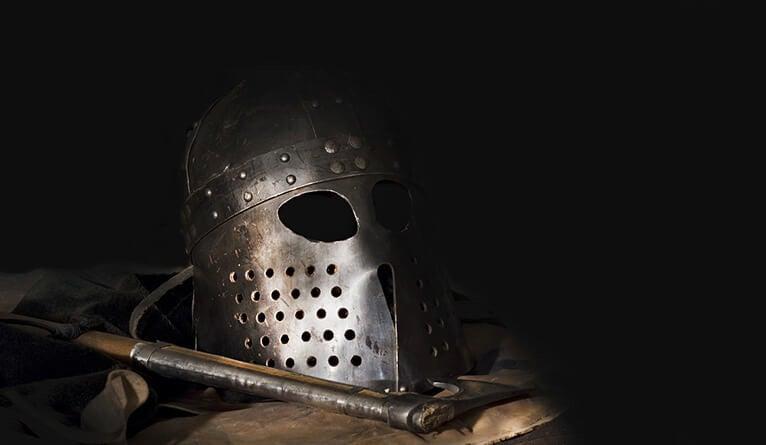 A realistic Viking helmet.