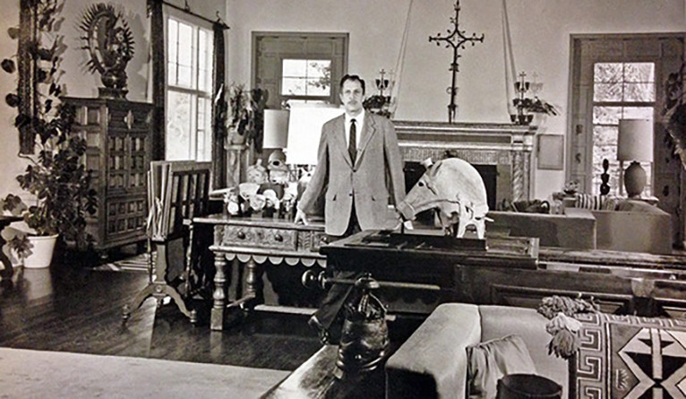 "Vincent Price at home among his collection in a publicity photo for his book ""I Like What I Know: A Visual Autobiography"""
