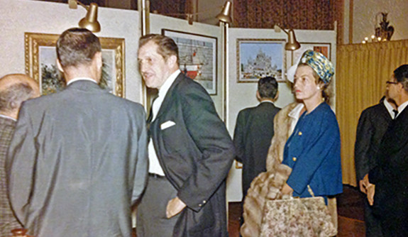 "A candid photo of Vincent Price at the opening of the ""Vincent Price Collection of Fine Art"" for Sears in 1962."