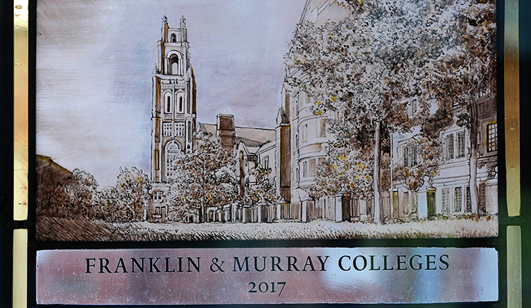 A stained-glass rendering of the new colleges.