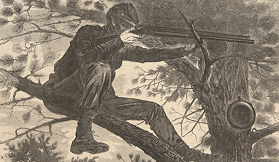 Winslow Homer, 'The Army of the Potomac' woodcut depicting a Civil War sharpshooter in a tree.