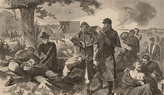 Winslow Homer, 'The Surgeon at Work in the Rear, during an Engagement,' from Harper's Weekly, July 12, 1862.