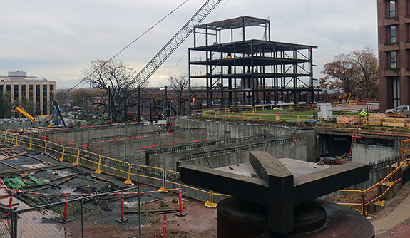 Construction underway at Yale.