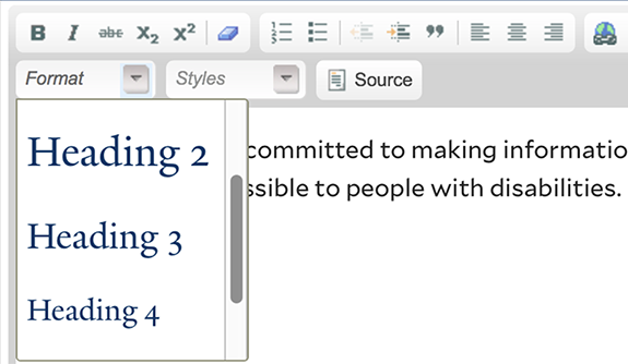 A content management system with a dropdown menu displaying different heading types.