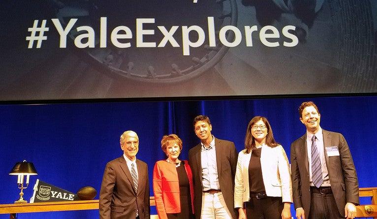 President Peter Salovey, Margaret Warner, Ahmed Mushfiq Mobarak, Karen Seto, and Elihu Rubin on stage at Yale Explores event.