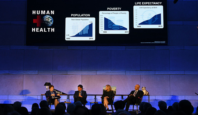 Margaret Warner, Daniel Esty, Ann Kurth, and Paul Turner on stage at Yale Explores in Philly.