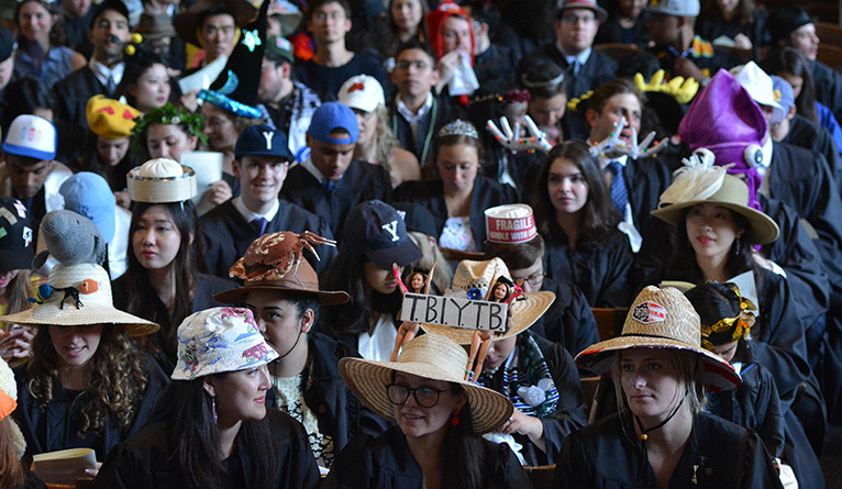 Hats on display at Yale Class Day 2018.