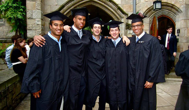 Roy Collins IV '13 B.S. (second from left) at Yale Commencement in 2013.