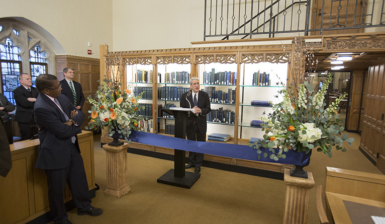 Yale President Peter Salovey speaks at a ribbon cutting ceremony in Yale's Manuscripts and Archives Department.
