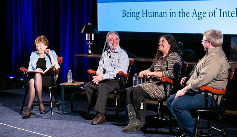 Margaret Warner '71, Shelly Kagan, Laurie Santos, and Brian Scassellati.