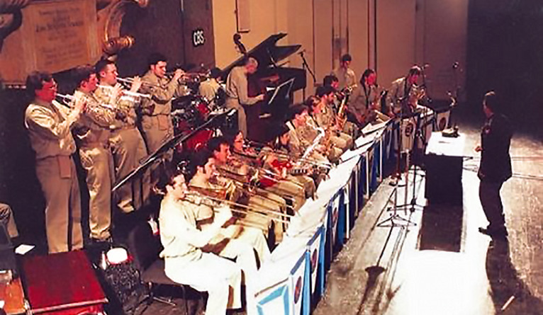 Duffy leads the Yale Concert Band in a reenactment of Glenn Miller's Yale broadcasts in 1994