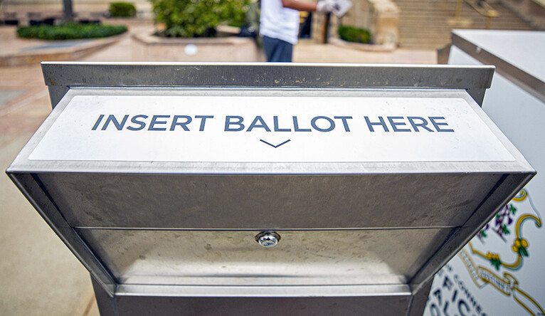 Absentee ballot drop boxes are set up outside the New Haven Hall of Records, 200 Orange St.