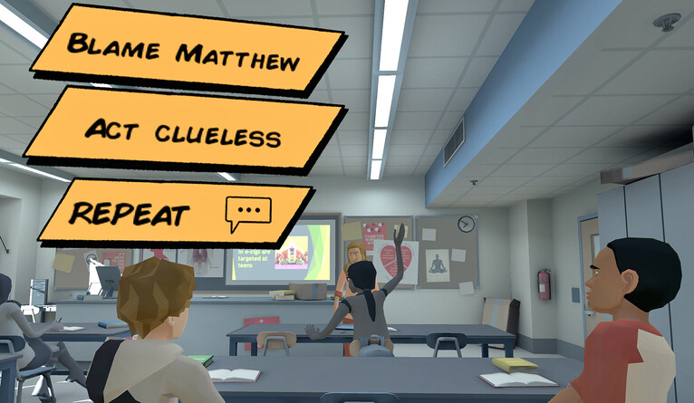 Video game options: Blame Matthew, Act Clueless, Repeat, from an anti-vaping VR game.  - yn invite only vr cc - A safe space: Medical researchers use virtual reality to reach youth