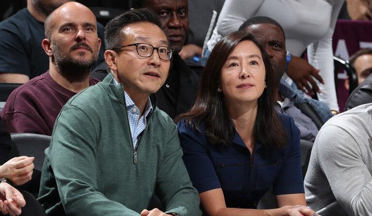 Joe Tsai and Clara Wu Tsai, seen here at a Brooklyn Nets game.