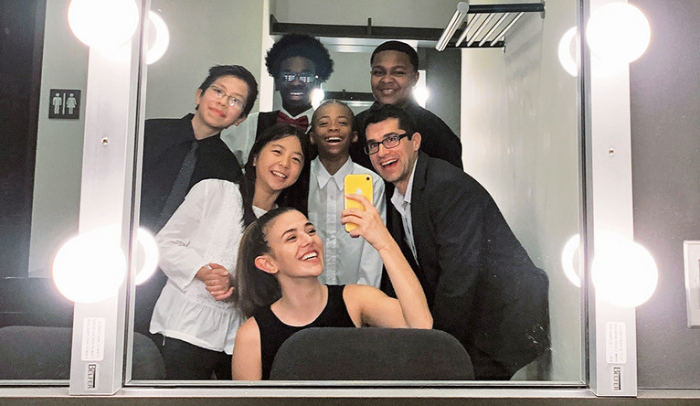 Lampo with Jeff Jones, her former teacher at the Morse Summer Music Academy, and students at the Morse Summer Academy in 2019